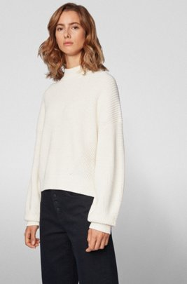 Pull court Relaxed Fit en maille côtelée, Blanc