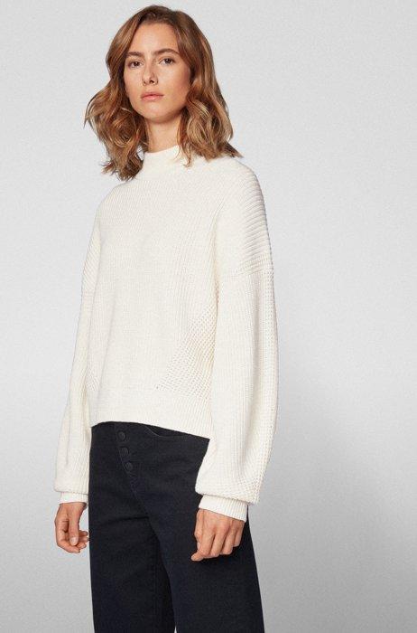 Kortere relaxed-fit trui gebreid in een ribstructuur, Wit