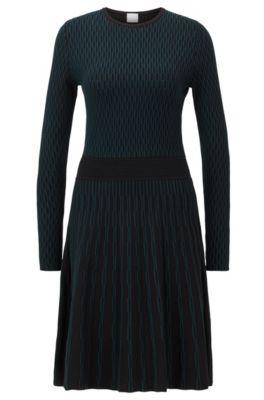 Robe à manches longues en maille jacquard bicolore, Noir