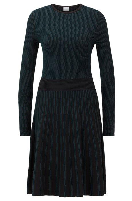 Vestido de mangas largas en jacquard bicolor, Negro