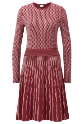 Vestito a maniche lunghe in jacquard lavorato bicolore, Rosso