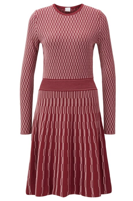 Long-sleeved dress in two-tone knitted jacquard, Red