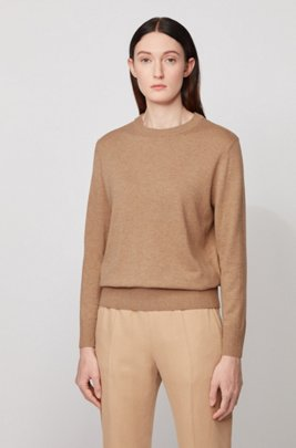 Crew-neck sweater in cotton with silk and cashmere, Beige