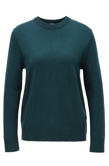Crew-neck sweater in cotton with silk and cashmere, Dark Green