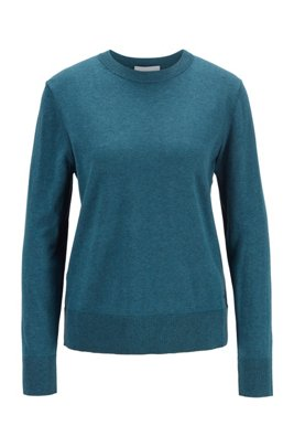 Crew-neck sweater in cotton with silk and cashmere, Dark Blue