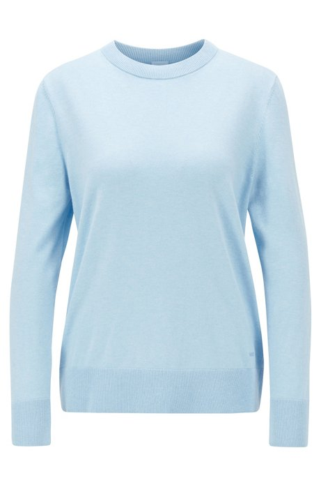 Crew-neck sweater in cotton with silk and cashmere, Light Blue