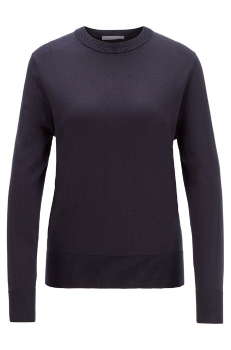 Crew-neck sweater in cotton with silk and cashmere, Open Blue