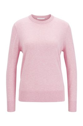 Crew-neck sweater in cotton with silk and cashmere, Light Purple
