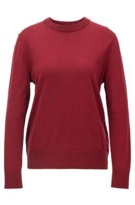 Jersey con cuello redondo de algodón con seda y cashmere, Rojo
