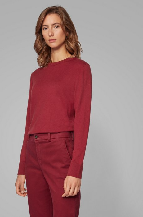 Crew-neck sweater in cotton with silk and cashmere, Red