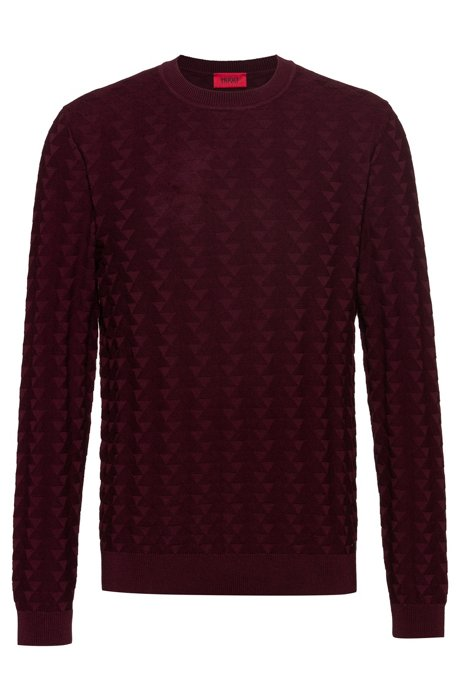 Regular-fit sweater in cotton with graphic structure, Dark Red