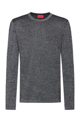 Knitted sweater in a wool blend with metallised yarns, Silver