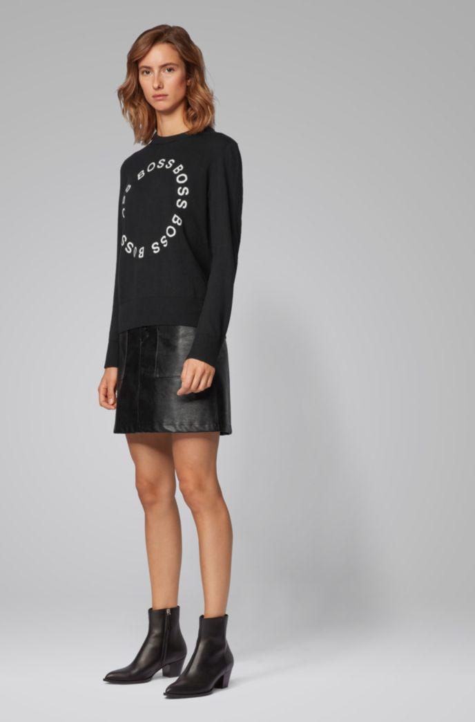 Pullover aus Baumwolle mit Kamelwolle und eingewebten Logos