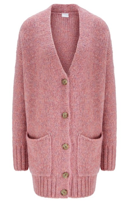Relaxed-fit cardigan with drop shoulder and V neckline, light pink