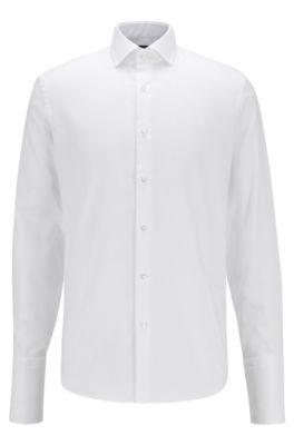 Regular-Fit Hemd aus bügelleichter Baumwolle mit Umschlagmanschetten, Weiß
