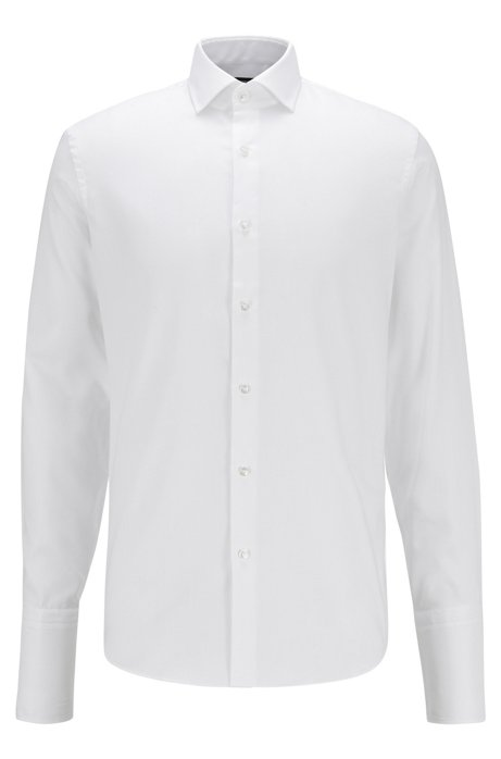 Regular-fit shirt in easy-iron cotton with double cuffs, White