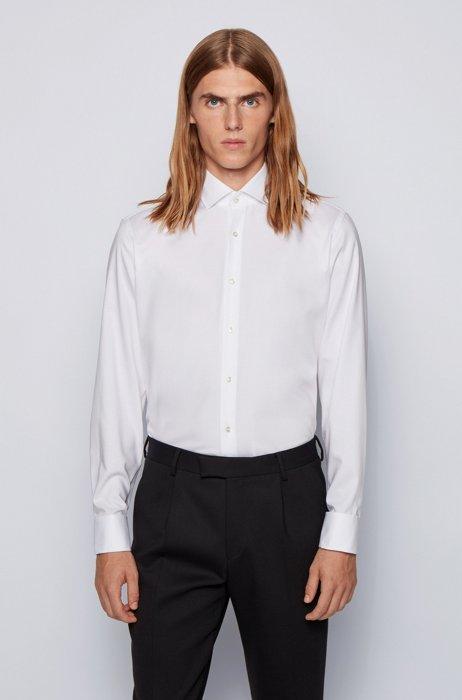 Regular-Fit Hemd aus bügelleichtem Baumwoll-Twill, Weiß