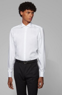 Slim-fit shirt in easy-iron cotton with double cuffs, White