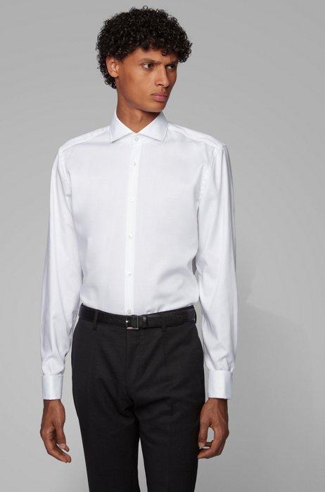 Slim-fit overhemd van gemakkelijk te strijken katoen met dubbele manchetten, Wit