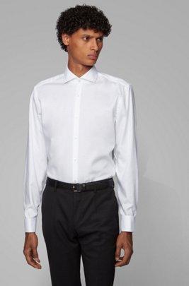 Camicia slim fit in cotone facile da stirare con polsini doppi, Bianco