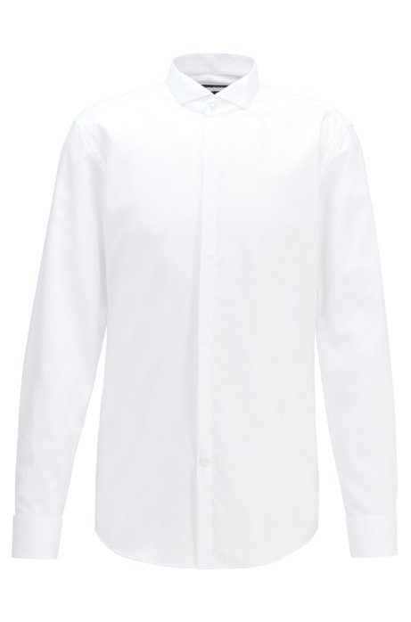 Slim-fit evening shirt in easy-iron cotton twill, White