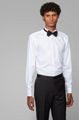 Slim-Fit Smoking-Hemd aus bügelleichtem Baumwoll-Twill, Weiß