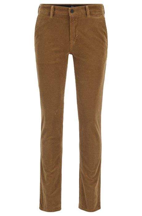 Pantalon Slim Fit en velours côtelé de coton stretch, Beige clair