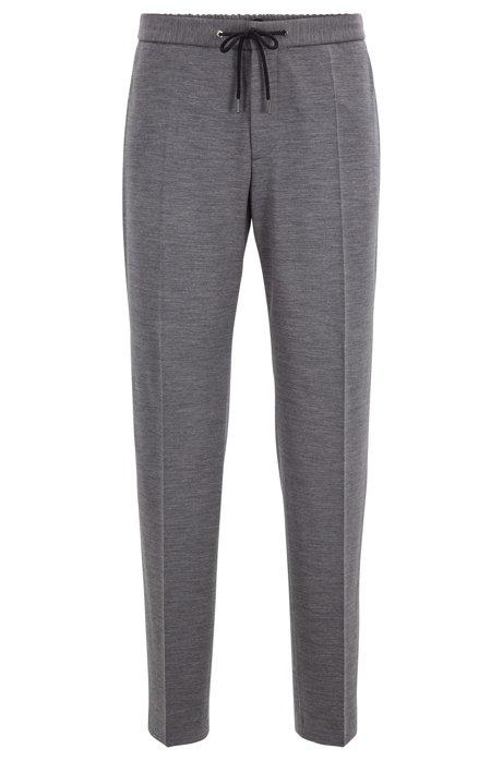 Slim-fit melange trousers in traceable merino wool, Grey