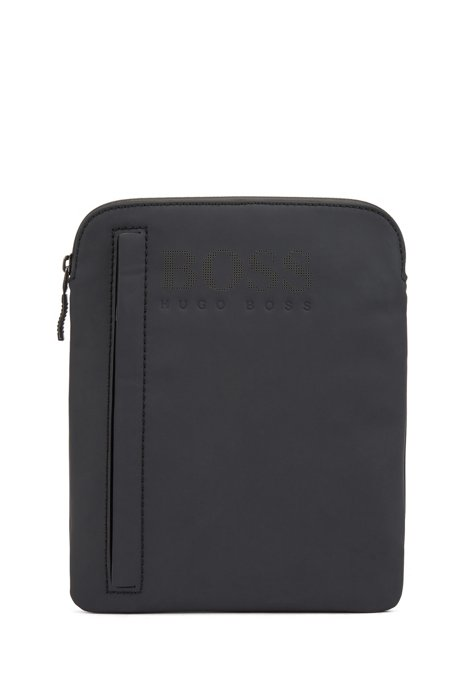 Envelope bag in rubberised faux leather with matte finish, Black