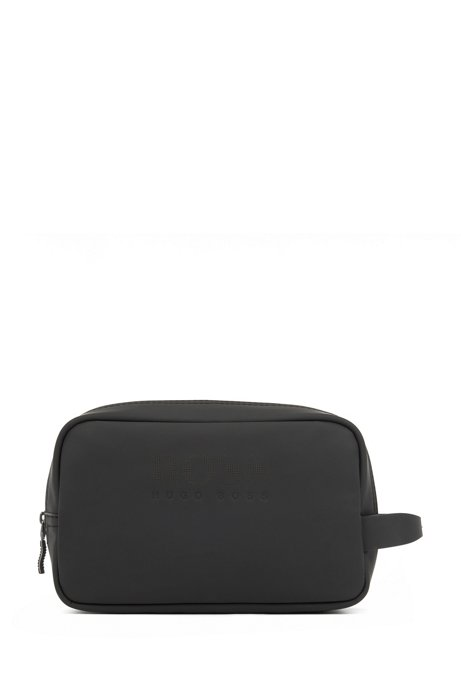 Zipped washbag in rubberised material with new-season logo, Black