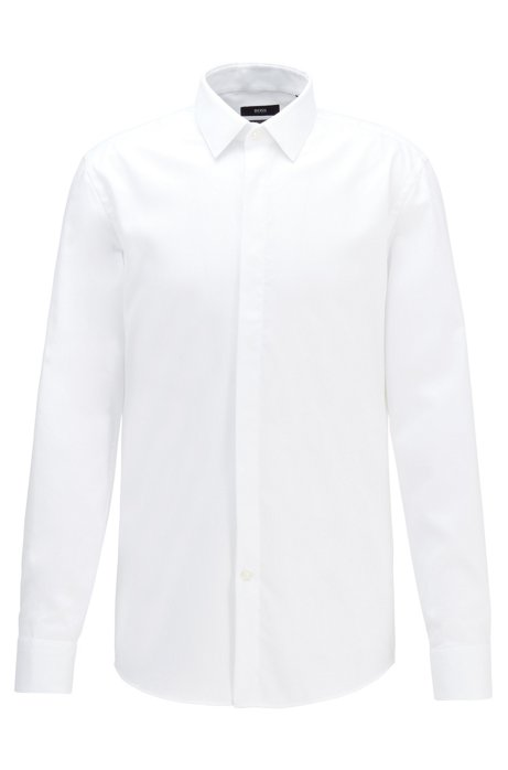 Camicia da smoking slim fit facile da stirare con polsini versatili, Bianco