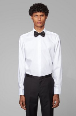 Camicia da smoking slim fit facile da stirare con polsini versatili, Bianco