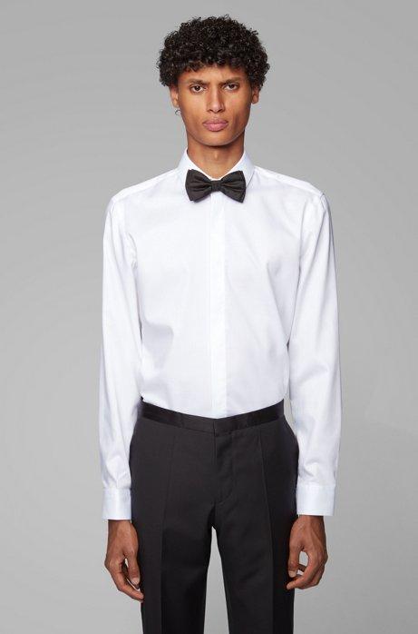 Gemakkelijk te strijken, slim-fit smokingoverhemd met veelzijdige manchetten, Wit