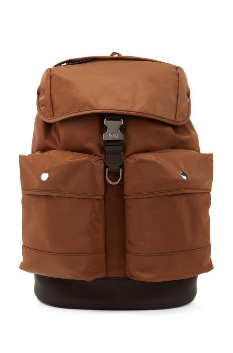 Backpack in Italian fabric with faux-leather trims, Brown