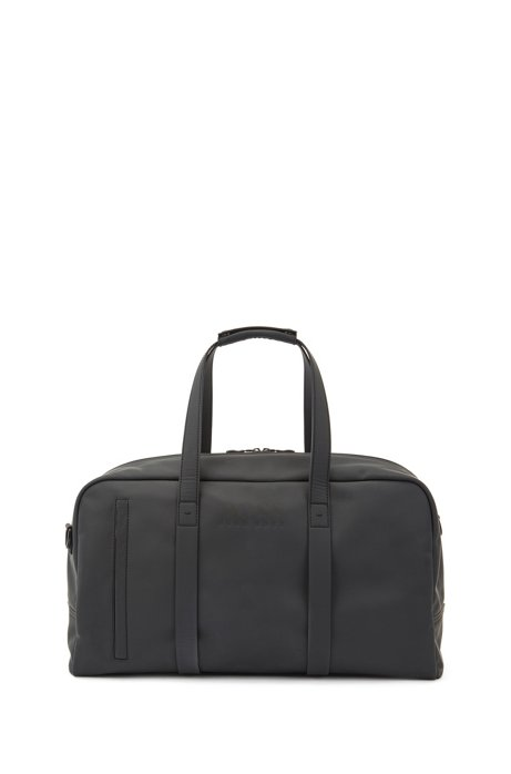 Holdall in rubberised fabric with multiple pockets, Black
