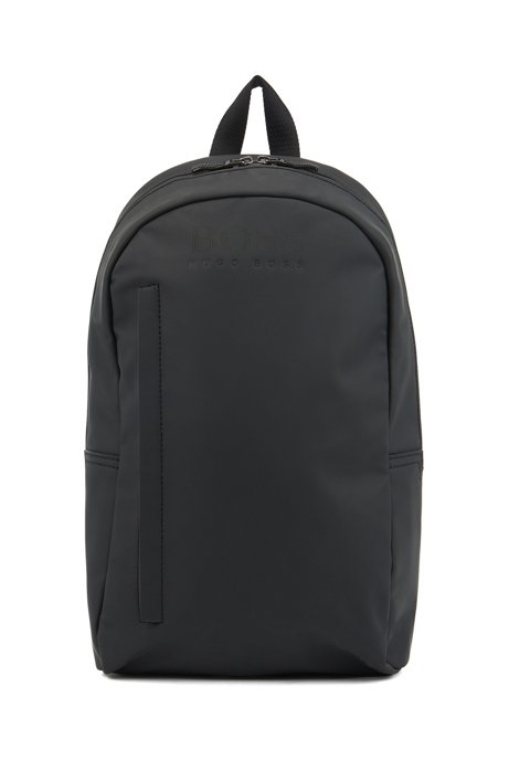 Logo backpack in rubberised material, Black