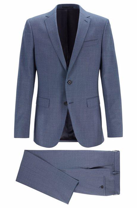 Micro-patterned slim-fit suit in traceable merino wool, Open Blue