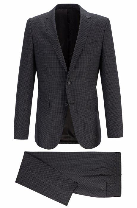 Patterned slim-fit suit in traceable merino wool, Grey