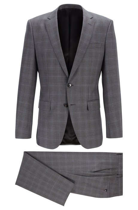 Karierter Slim-Fit Anzug aus nachverfolgbarer Merinowolle, Dunkelgrau