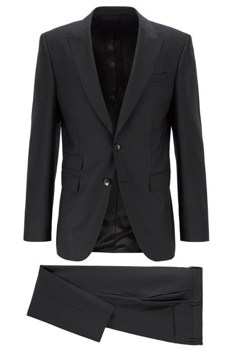 Gestreept slim-fit kostuum van traceerbare merinowol, Zwart