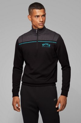 Regular-fit sweatshirt with curved logo and quarter zip, Black