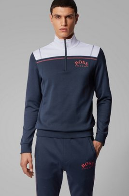 Regular-fit sweatshirt with curved logo and quarter zip, Dark Blue