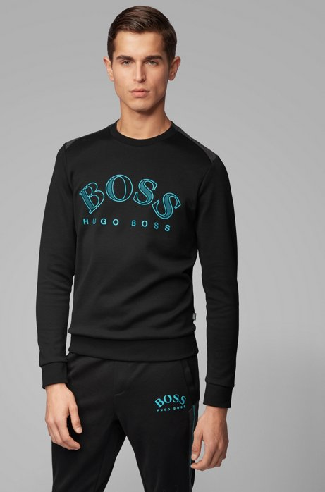 Cotton-blend sweatshirt with curved logo embroidery, Black