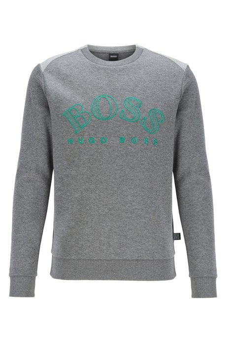 Cotton-blend sweatshirt with curved logo embroidery, Grey
