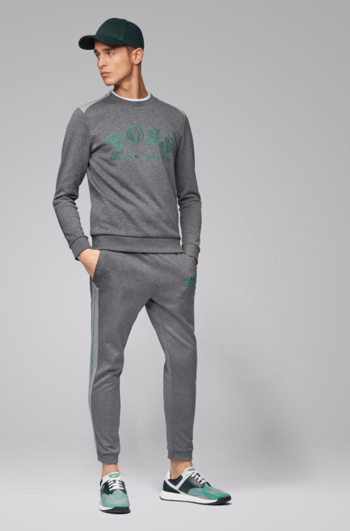 Sweatshirt aus Baumwoll-Mix mit geschwungener Logo-Stickerei