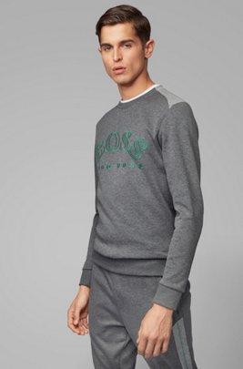 Sweatshirt aus Baumwoll-Mix mit geschwungener Logo-Stickerei, Grau