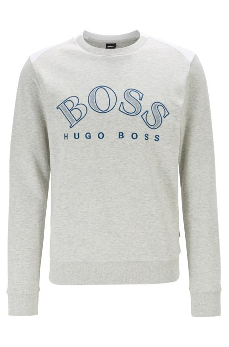 Cotton-blend sweatshirt with curved logo embroidery, Light Grey
