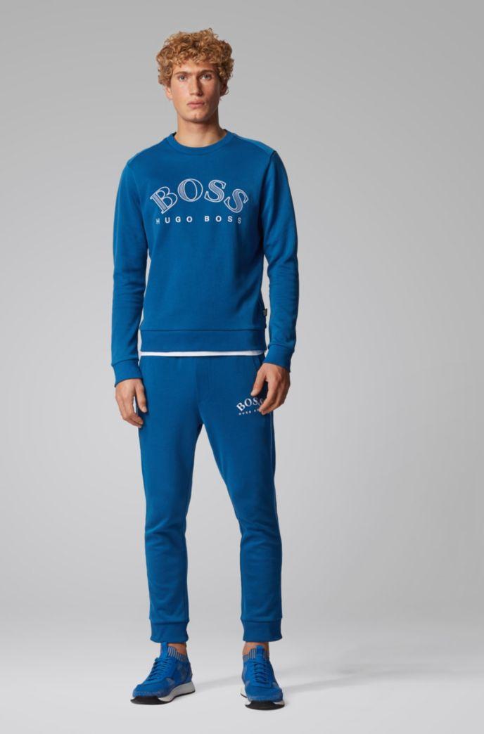 Sweatshirt van een katoenmix met gebogen logostiksel
