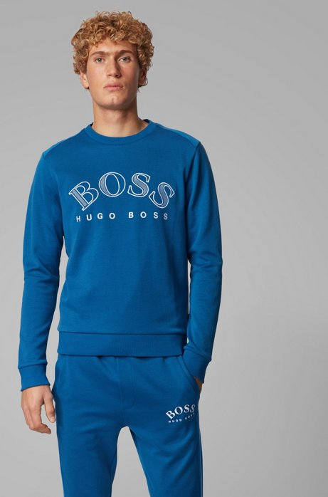 Cotton-blend sweatshirt with curved logo embroidery, Blue