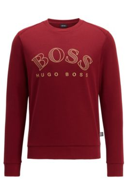 Cotton-blend sweatshirt with curved logo embroidery, Red